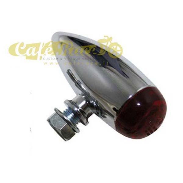 Fanalino posteriore MICRO-BULLET LED lente rossa cromato