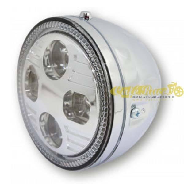 Faro anteriore cromato Highsider ATLANTA LED fissaggio laterale Omologato