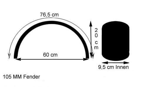 parafango anteriore alluminio 105 x 765 mm