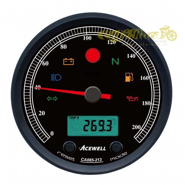 Strumento contachilometri/contagiri Acewell CA085 NERO – FONDO NERO 210KmH