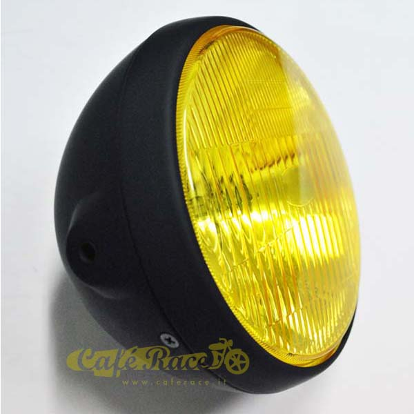 Faro anteriore Clubman cafè racer nero opaco parabola gialla