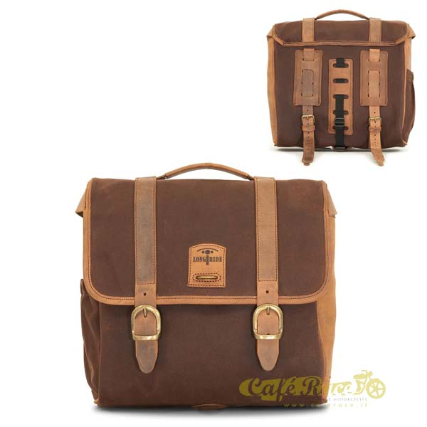 Borsa laterale LONGRIDE BROWN in cotone cerato 15 lt