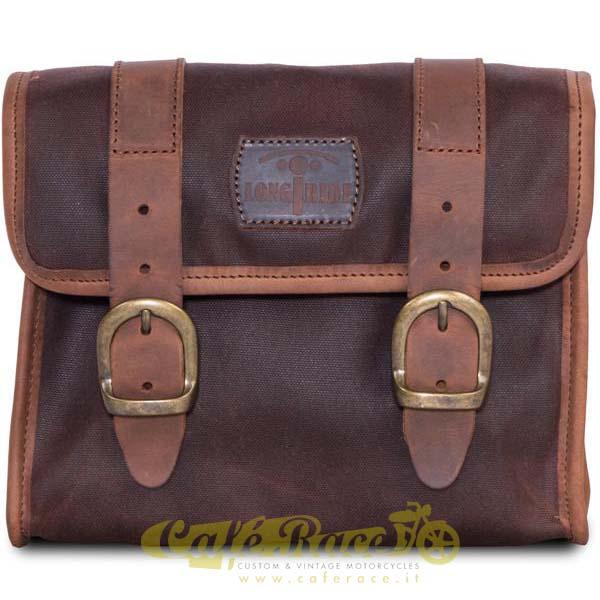 Mini borsa LONGRIDE BROWN in cotone cerato