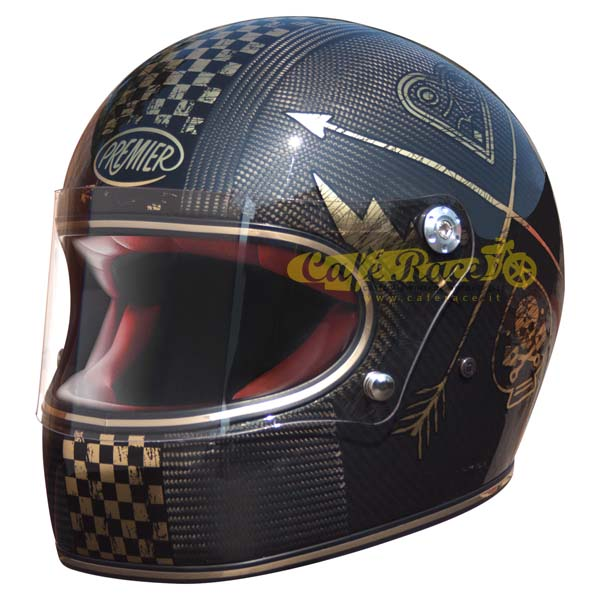Casco integrale Premier TROPHY Carbon NX Gold Chromed in fibra di carbonio