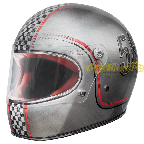 Casco integrale Premier TROPHY FL CHROMED OLD STYLE in fibra