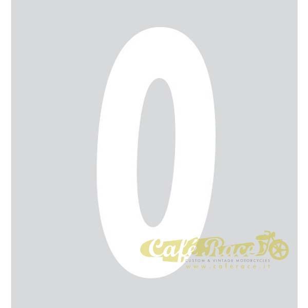 NUMERO 0 adesivo per tabella portanumero o carena – BIANCO