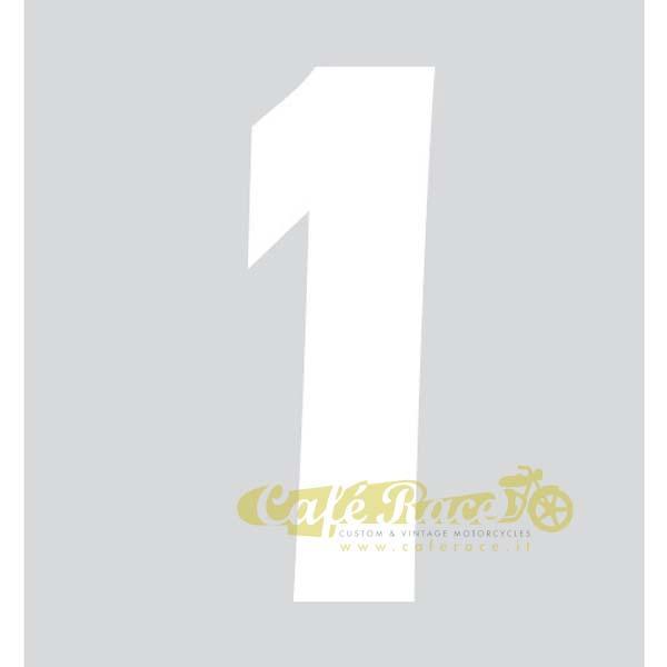 NUMERO 1 adesivo per tabella portanumero o carena – BIANCO