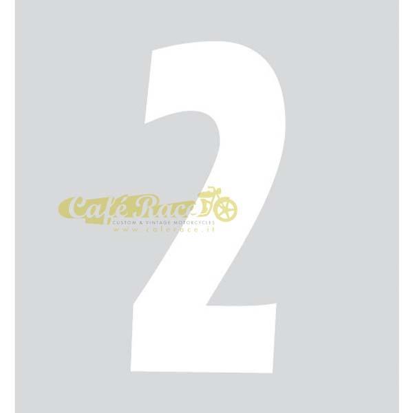 NUMERO 2 adesivo per tabella portanumero o carena – BIANCO