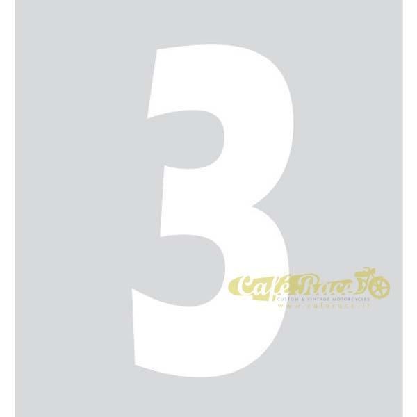 NUMERO 3 adesivo per tabella portanumero o carena – BIANCO