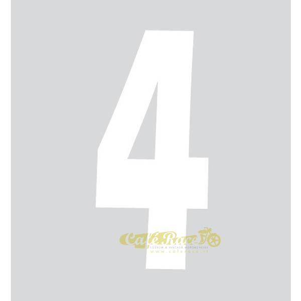 NUMERO 4 adesivo per tabella portanumero o carena – BIANCO