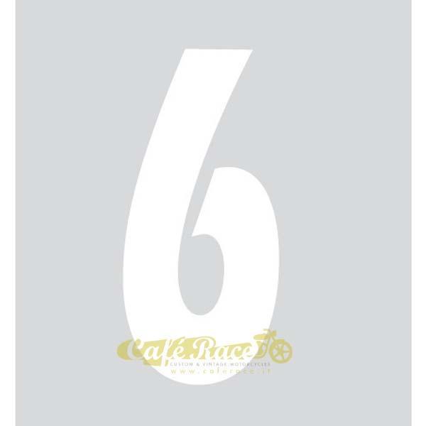 NUMERO 6 adesivo per tabella portanumero o carena – BIANCO