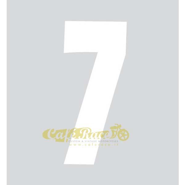 NUMERO 7 adesivo per tabella portanumero o carena – BIANCO