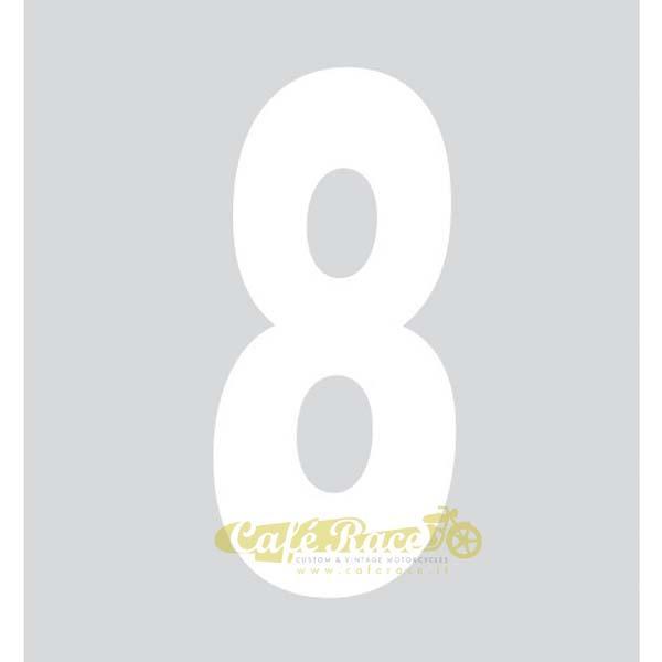 NUMERO 8 adesivo per tabella portanumero o carena – BIANCO