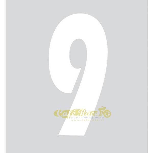 NUMERO 9 adesivo per tabella portanumero o carena – BIANCO
