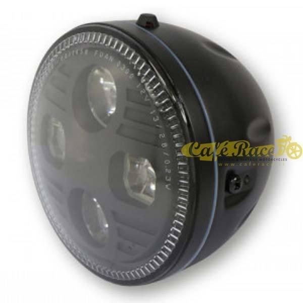 Faro anteriore nero Highsider ATLANTA LED fissaggio laterale Omologato