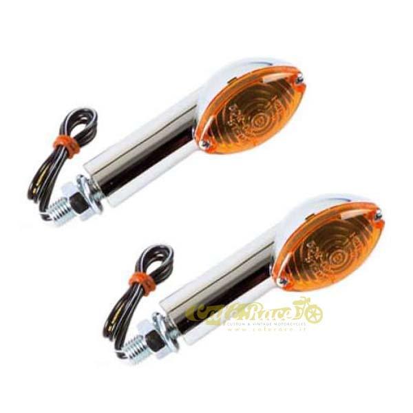 OMOLOGATE 2 pezzi Frecce Medium Cateye universali cromate gambo lungo