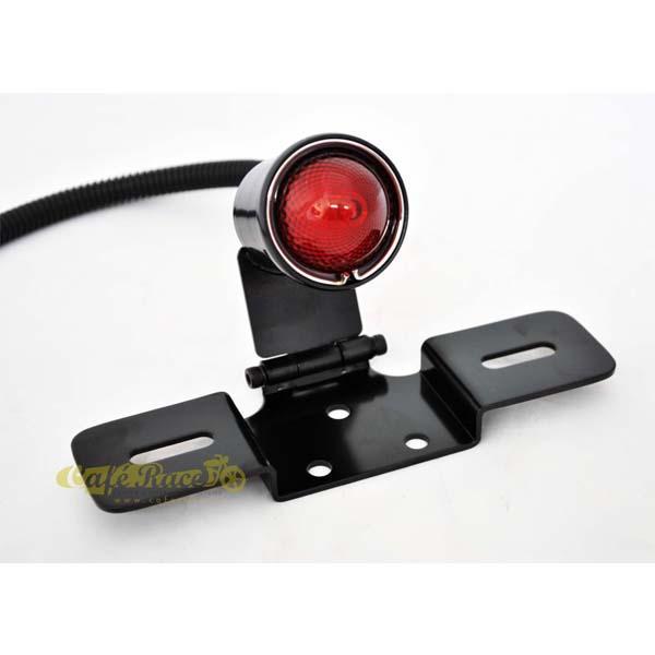 Faro posteriore nero regolabile Vintage Style Deluxe LED per custom e cafe racer Omologato