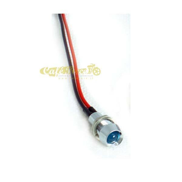 Spia luminosa mini cromata a LED blu foro 8mm