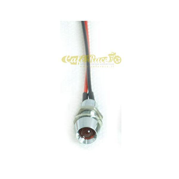 Spia luminosa mini cromata a LED rosso foro 8mm