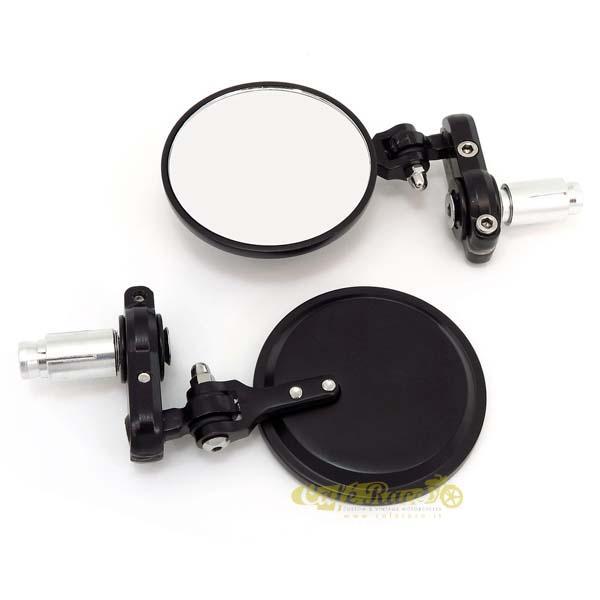 Coppia specchi retrovisori bar end alluminio nero per cafè racer con inclinazione regolabile