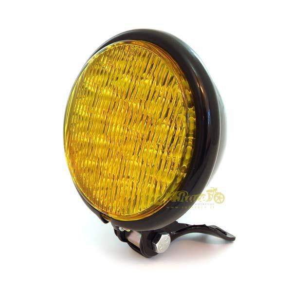 Faro anteriore nero parabola gialla a LED attacco basso