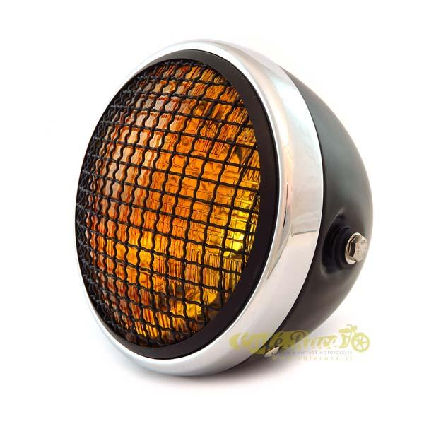 Faro anteriore nero/cromato scrambler con griglia e lente ambra