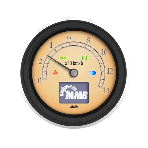 Contachilometri MMB elettronico nero con spie fondo avorio 220kmh