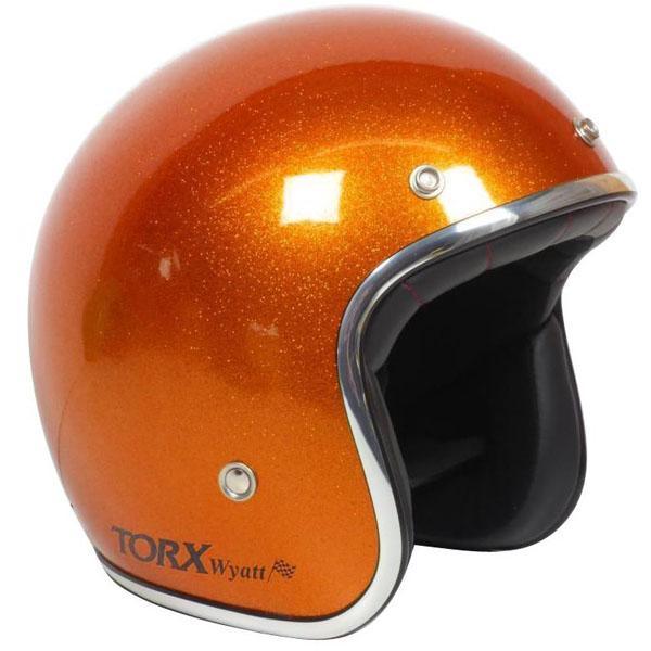 Casco vintage Torx Wyatt Orange Metal Flake Omologato