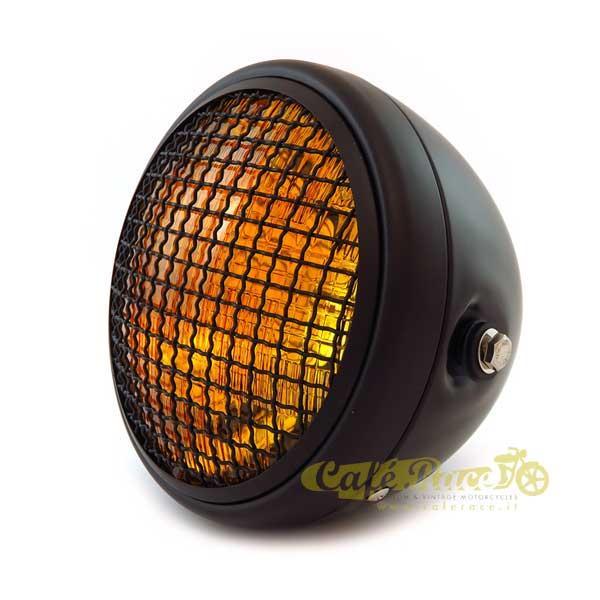 Faro anteriore nero opaco scrambler con griglia e lente ambra