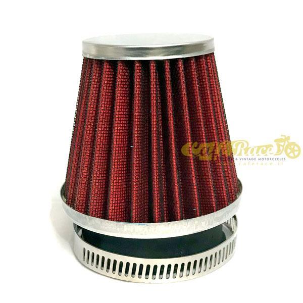 Filtro aria conico rosso con finiture cromate Ø 38 - 40mm