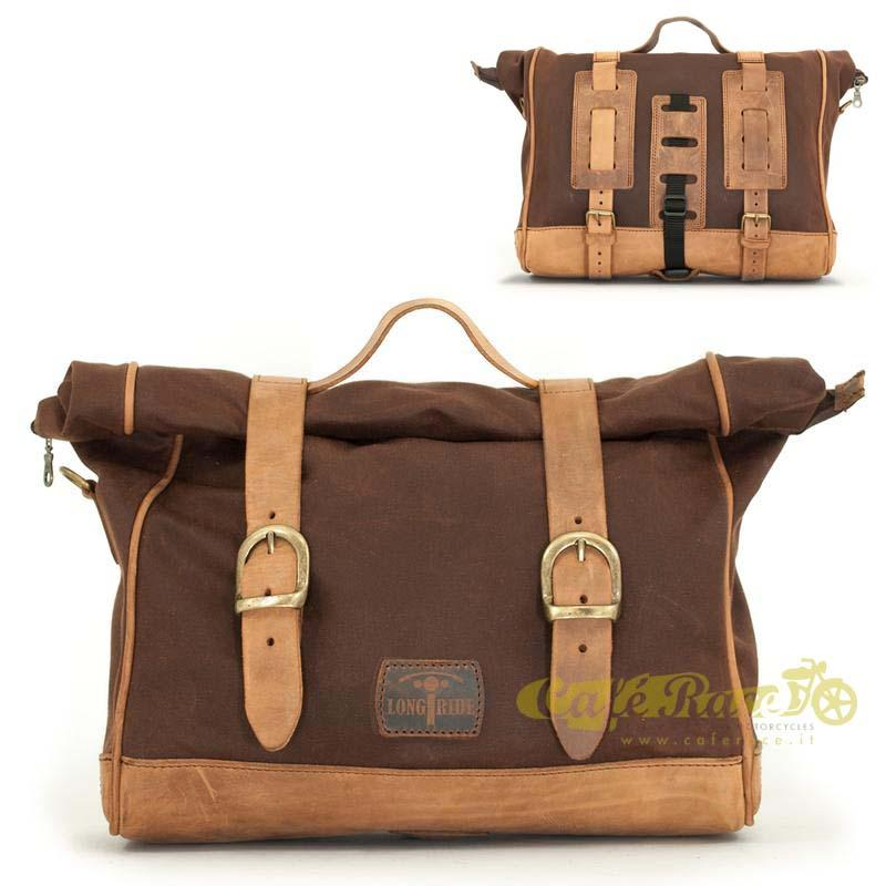 Borsa laterale LONGRIDE BROWN in cotone cerato 11 lt
