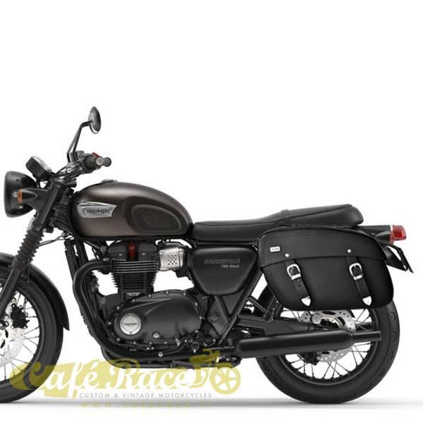 Kit borsa pelle nera + telaio DX TRIUMPH BONNEVILLE T120 dal 2016