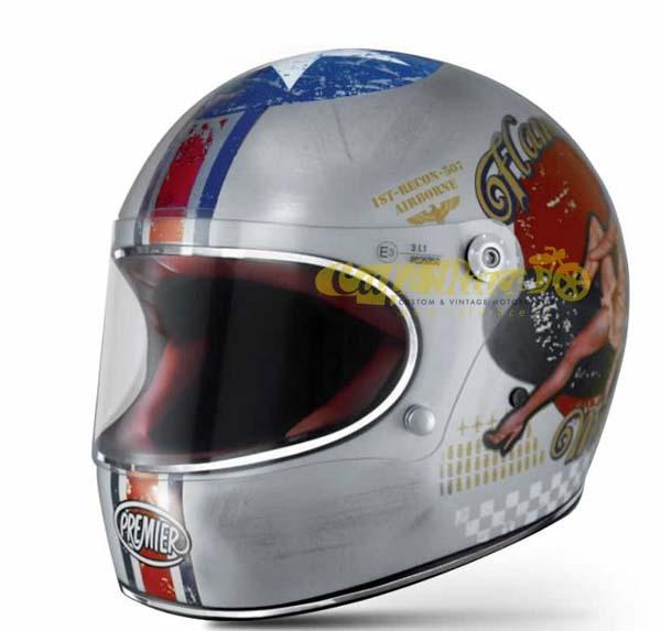 Casco integrale Premier TROPHY Pin Up Old Style Silver in fibra